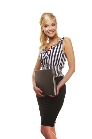 portrait of  businesswoman with laptop computer over white photo