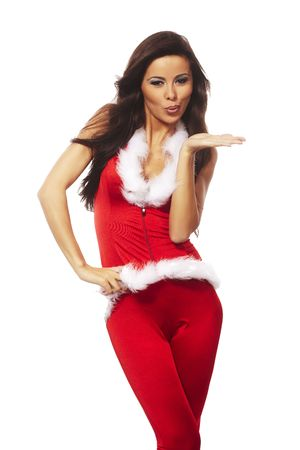 sexy christmas elf: beautiful brunette woman wearing sexy santa claus clothes Stock Photo