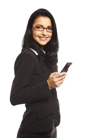 beautiful young woman calling by mobile phone photo