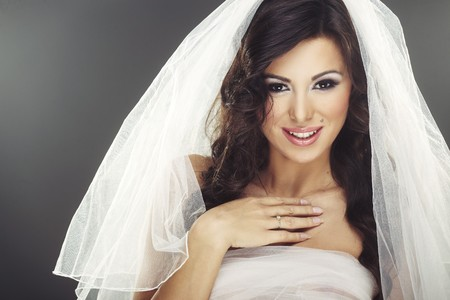 marriageable: Face of beautiful young bride with happy smile Stock Photo