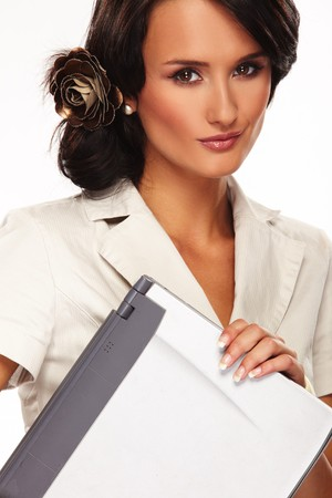 nice business woman with laptop on white background photo