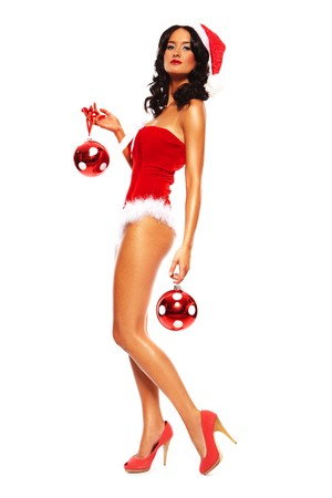 Christmas Beauty on white background - sexy long legs  Stock Photo