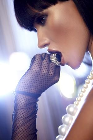 jewelry model: Beautiful woman. Fashion art photo. Close-up makeup