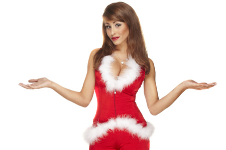 santa helper: Sexy santa helper on white background