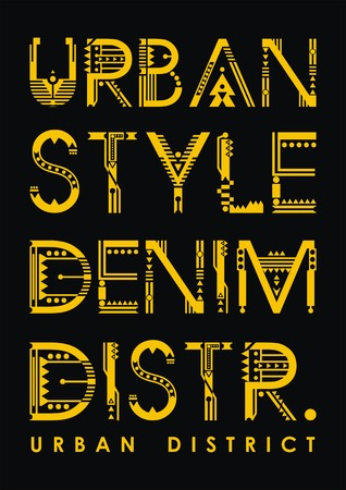 Urban style denim district typography for poster. t-shirt, Vector.