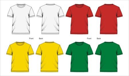 Plantilla de camiseta delantera y trasera, vectores