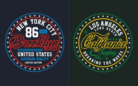 Typography brooklyn with california, T Shirt, Vectors