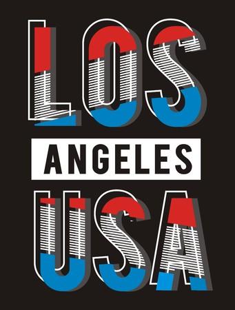 la: Retro Los Angeles USA Typography Flag, Vector.