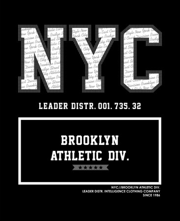 entered: NYC Brooklyn Typography design, t shirt graphic, vectors