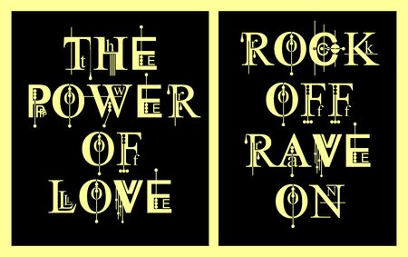 Typography The Power Of Love and Rock Off Rave On For T shirt, Poster, Vector,