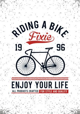 Riding a bike t-shirt image vector illustration. Illustration