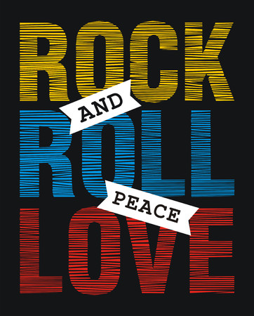 athletic wear: Creative art design message rock and roll peace love, vector image fashion font illustration
