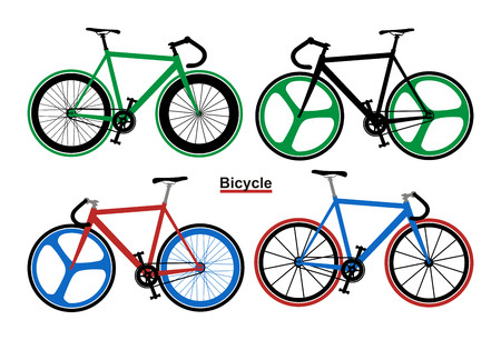 screen printing: Set Bicycle Vector illustration on white background. Illustration