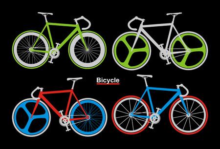 Set bicycle sport vector illustration on black background.