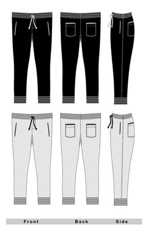 Vektorschwarze weiße vordere rückseitige Vektorillustration der Hose. Vektorgrafik