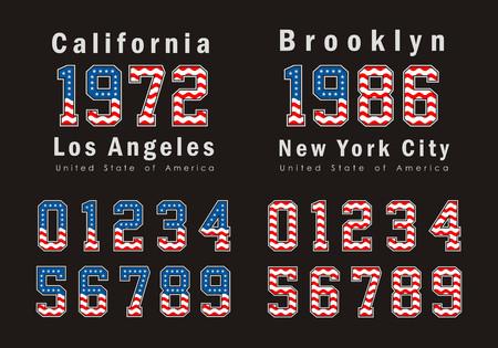 white bacground: set Numbers Sport flag USA