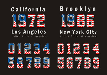 set Numbers Sport flag USA