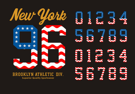 numbers abstract: New York Set Numbers Flag America Illustration
