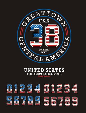 Athletic Sport, set Number Texture Flag USA