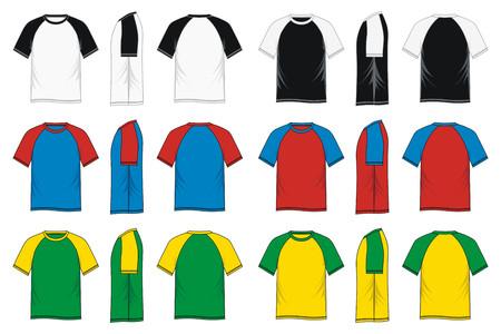 Mens short sleeve raglan t shirt - colorful, front, side, back, vector image Illustration