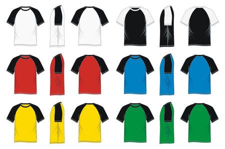 Mens short sleeve raglan t shirt - colorful, front, side, back Illustration