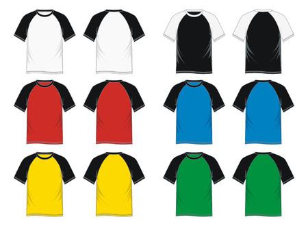 Mens short sleeve raglan t shirt - front and back