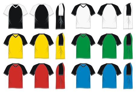 Mens short sleeve raglan V neck t shirt Illustration