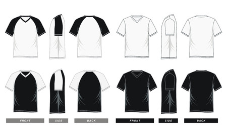 Mens short sleeve raglan V neck t shirt Illusztráció