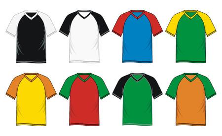 Mens short sleeve raglan V neck t shirt colorful