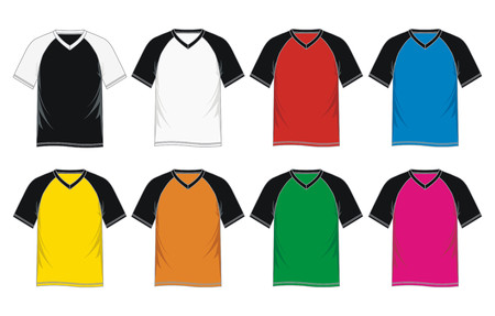 Mens short sleeve raglan V neck t shirt colorful