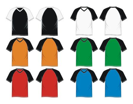 Mens short sleeve raglan V neck t shirt  colorful, front and back