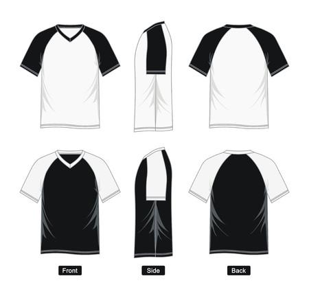 Mens short sleeve raglan V neck t shirt, front, side, back, black and white vector image