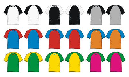 Mens short sleeve raglan V neck t shirt colorful, front and back, vector image