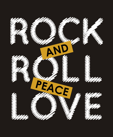 Rock and roll peace love typography design