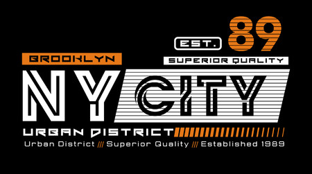 NYC 89 typography for t-shirt print. Athletic graphics, vector image