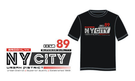 NY City 89 typography design with cloth samples. Ilustração