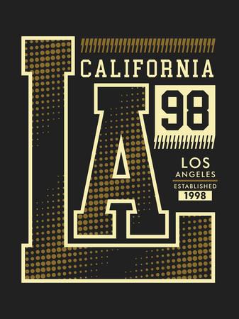 Conception typographique LA California 98. T-shirt, image vectorielle Vecteurs