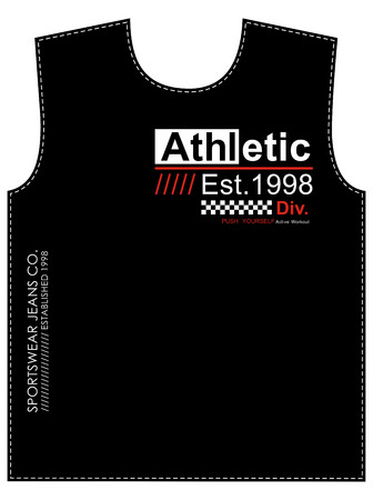 Athletic div. typography design with cloth samples. Banco de Imagens - 116523684
