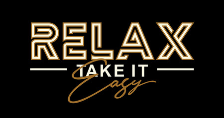 Relax take it easy, vector T-shirt design. Stylish and modern typographic. Çizim