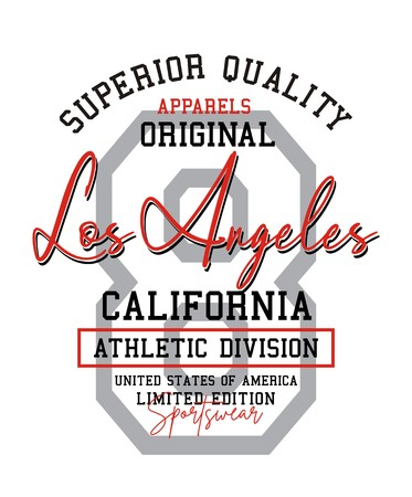 Typography design Los Angeles USA style for t-shirt print and other uses. Vector image design.