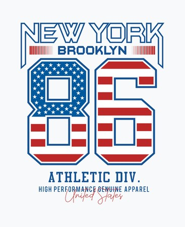 New York 86 USA style typography design for t-shirt print and other uses. Vector image design. Illustration