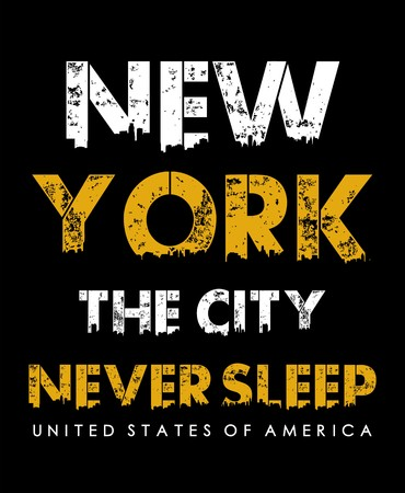 Typography New York the city never sleep for t-shirt print and other uses. Vector image design. Ilustração