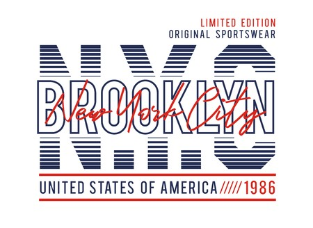 NYC Brooklyn USA style typography for t-shirt print and other uses. Vector image.