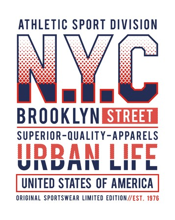 NYC Brooklyn streetwear USA style typography design for t-shirt print and other uses. Vector image design.