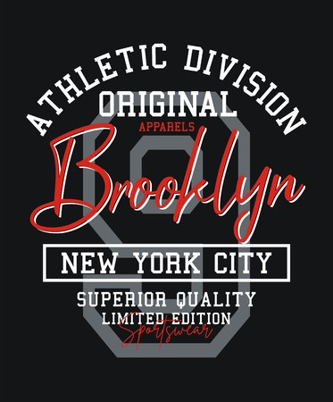 Athletic Brooklyn 9 USA style typography design for t-shirt print and other uses. Vector image design.