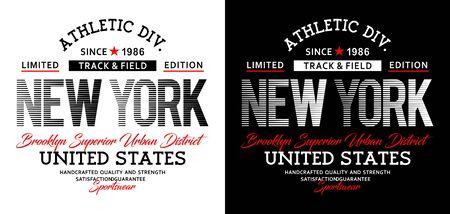 Athletic sport New York Brooklyn typography, t-shirt graphics, vectors