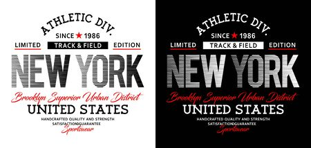 Athletic sport New York Brooklyn typography, t-shirt graphics, vectors