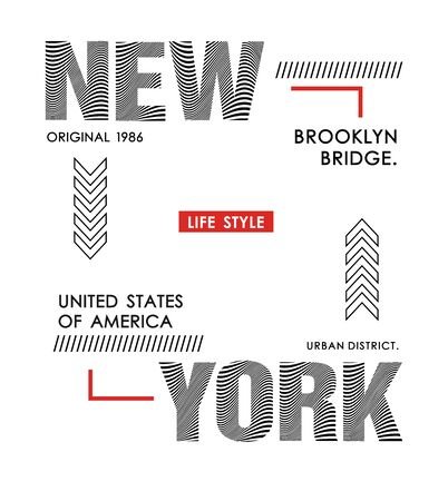 New York typography design for t-shirt and various uses, vector image. Ilustração