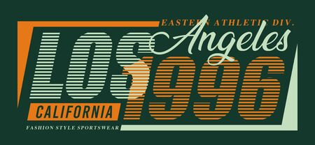 Typography Los ANgeles 1996 for print t shirt, vector image design  イラスト・ベクター素材