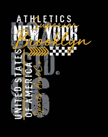 Athletic New York typography varsity, t-shirt and various uses, vectors